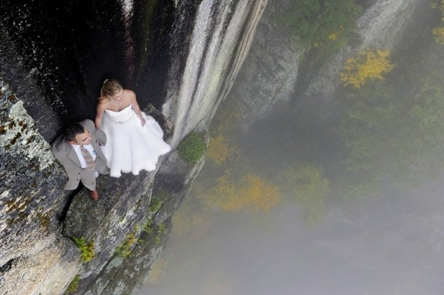 Yerden 107 Metre Yüksekte Düğün Fotoğrafı Çeken Çift