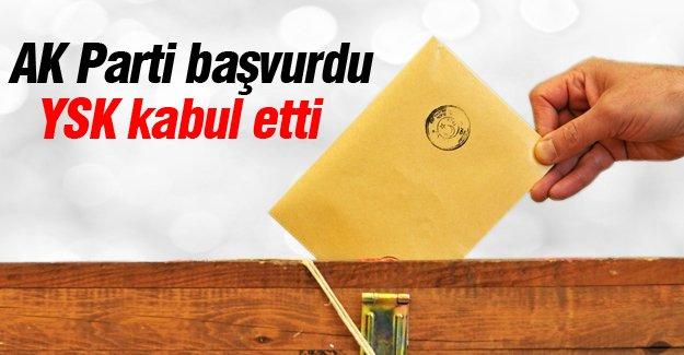 AK Parti başvurdu YSK kabul etti
