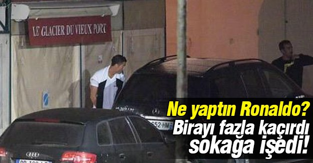 Alkolü fazla kaçıran Ronaldo bar çıkışı sokağa işedi!