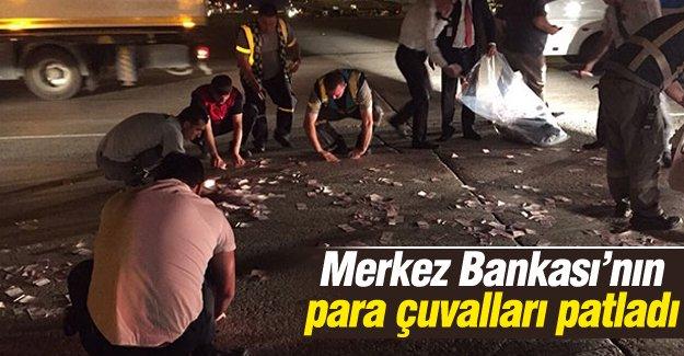 Atatürk Havalimanı'nda Merkez Bankası'nın para çuvalları patladı