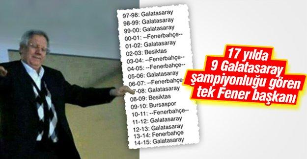 Aziz Yıldırım'ın 17 yıllık tarihinde Galatasaray şampiyonlukları