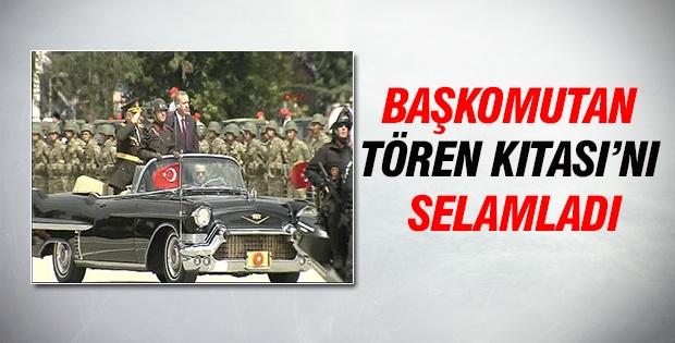 Cumhurbaşkanı Erdoğan tören kıtasını selamladı