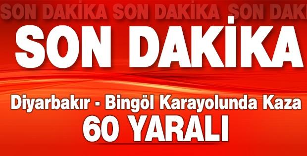 Diyarbakır-Bingöl karayolunda kaza: 60 yaralı