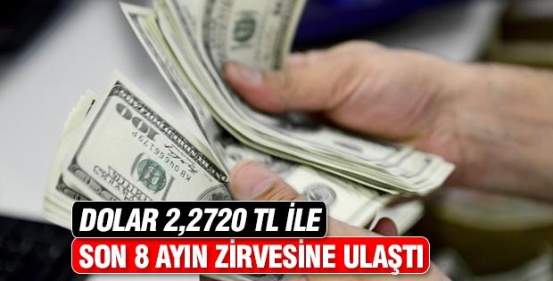 Dolar 2,2720 TL ile 8 ayın zirvesine ulaştı