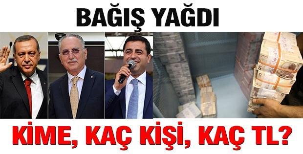 Erdoğan, İhsanoğlu ve Demirtaş'a bağış yağdı