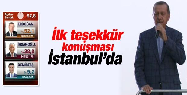 Erdoğan'ın Teşekkür  Konuşması