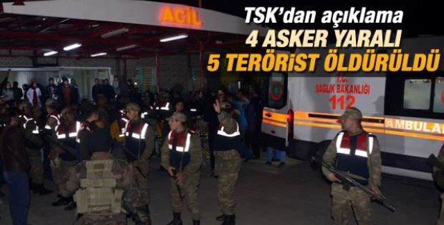 Genelkurmay: 5 terörist öldürüldü