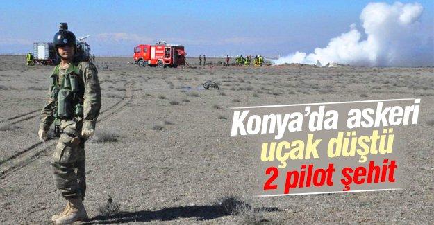Konya'da askeri uçak düştü!