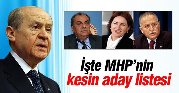 MHP'nin kesin aday listesi
