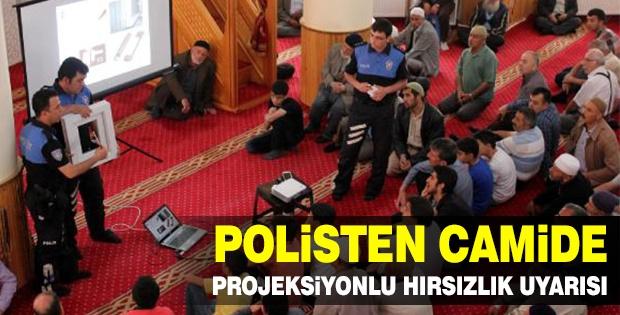 POLİSTEN CAMİDE PROJEKSİYONLU HIRSIZLIK UYARISI