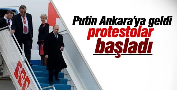 Putin'in Ankara ziyaretini protesto ettiler