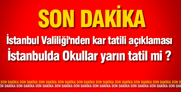 Son Dakika ! İstanbul Valiliği'nden kar tatili açıklaması