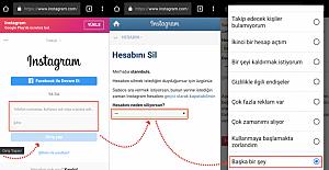 Instagram Türkçe hesap silme linki