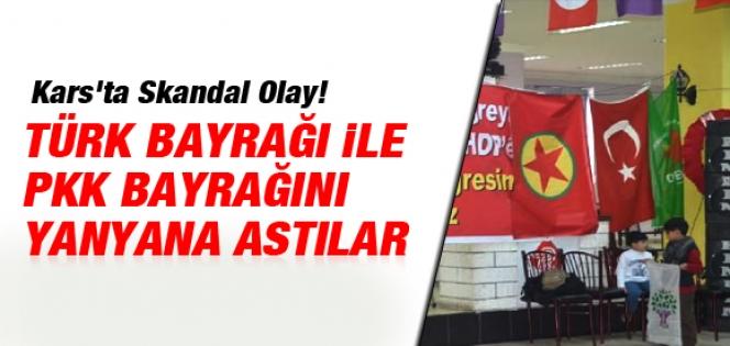 Türk ve PKK bayrağını yan yana astılar