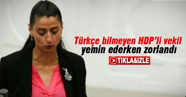 Türkçe bilmeyen Feleknas Uca yemin etti