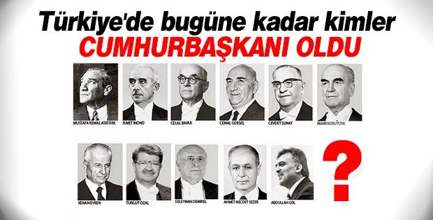 Türkiye'de bugüne kadar kimler Cumhurbaşkanı oldu