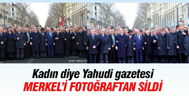 Yahudi gazetesi Merkel'i fotoğraftan sildi