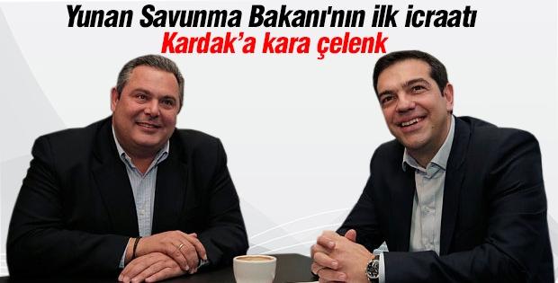 Yunan Savunma Bakanı'nın ilk icraatı Kardak'a çelenk